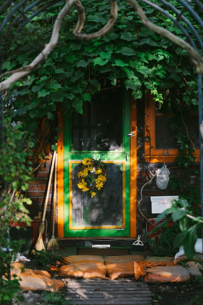 Rustic green storm door with greenery in the foreground